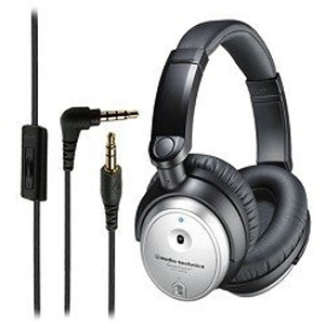 Audio-Technica ATH-ANC7B Silver QuietPoint Active Noise-Cancelling Headphone with MIC and Remote *FREE SHIPPING*