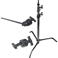 10.75' C-Stand 33 Kit With 40&Quot; Black Extension Arm & Black Grip Head, 5/8&Quot; Mounting Stud, 2 Riser, Black Steel