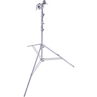 High Overhead Wide Base 18' Lightstand, Four Riser, Chrome