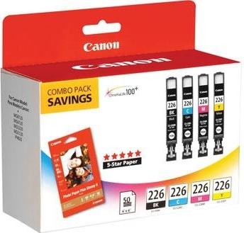 CLI-226 Ink Set - Black, Cyan, Magenta, Yellow Plus 4x6 50 Sheet Paper Kit