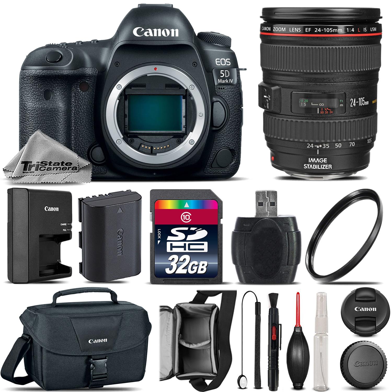 EOS 5D Mark IV Full Frame Camera + 24-105mm L USM + Canon Bag - 32GB Kit *FREE SHIPPING*