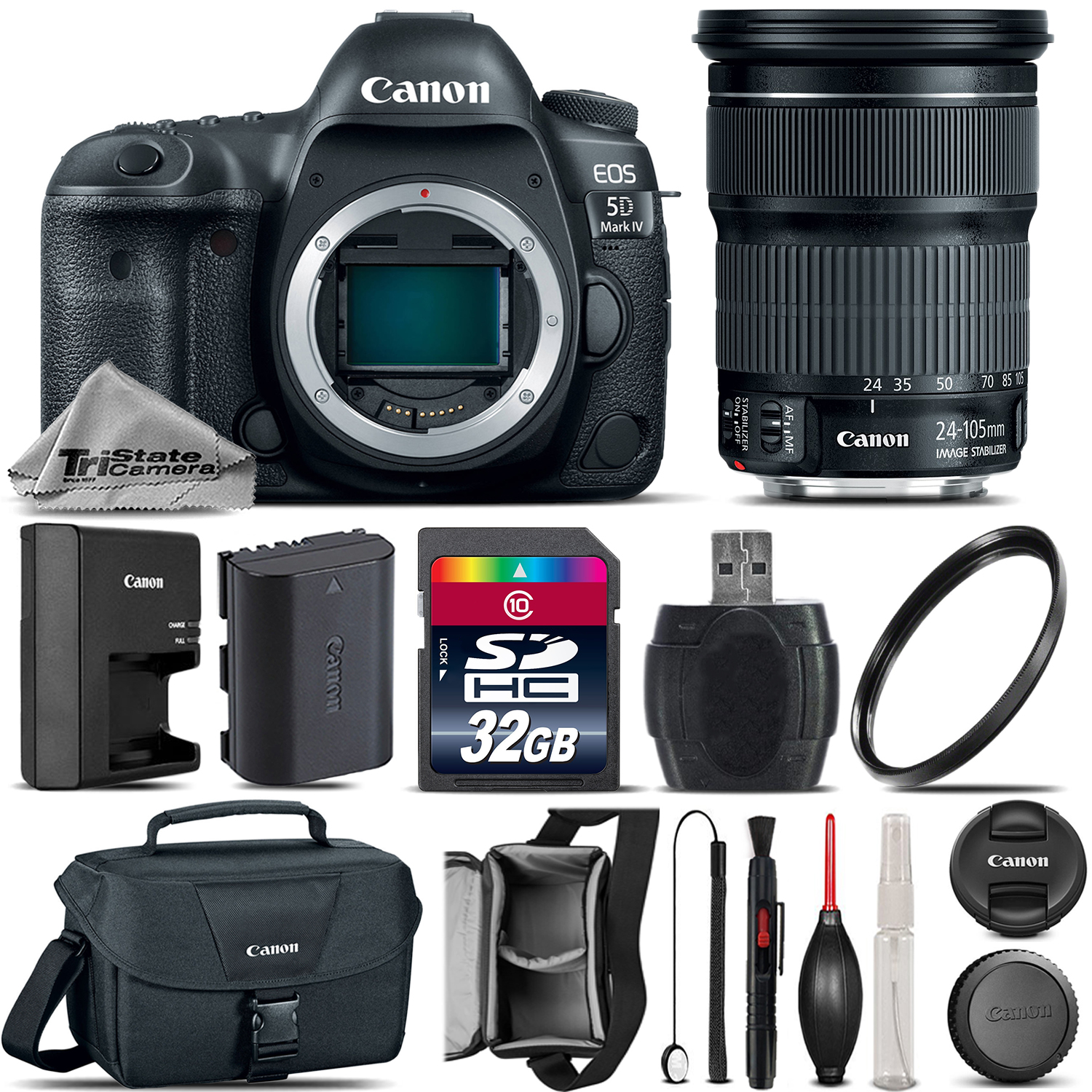 EOS 5D Mark IV Full Frame Camera + 24-105mm IS STM + Canon Bag - 32GB Kit *FREE SHIPPING*