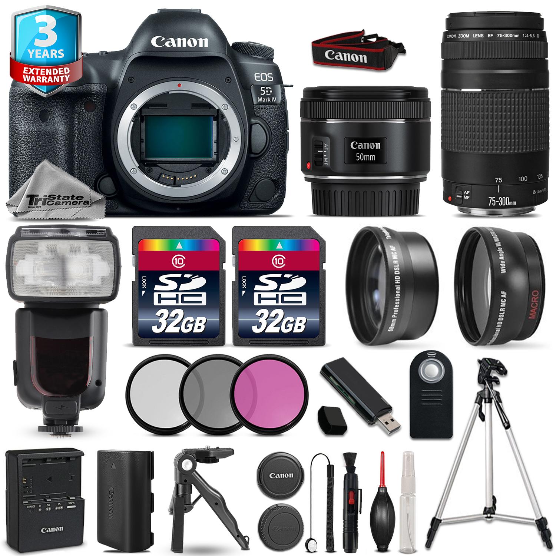 EOS 5D Mark IV Camera + 50mm 1.8 + 75-300mm + 64GB + Flash + 2yr Warranty *FREE SHIPPING*
