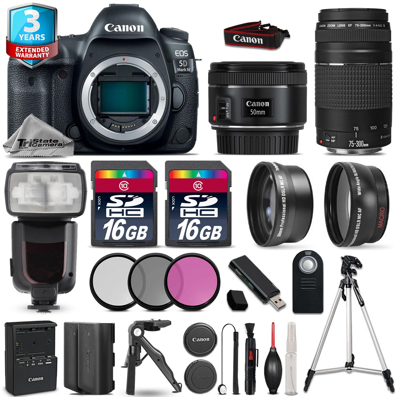 EOS  5D Mark IV Camera + 50mm STM + 75-300mm + 32GB + Flash + 2yr Warranty *FREE SHIPPING*