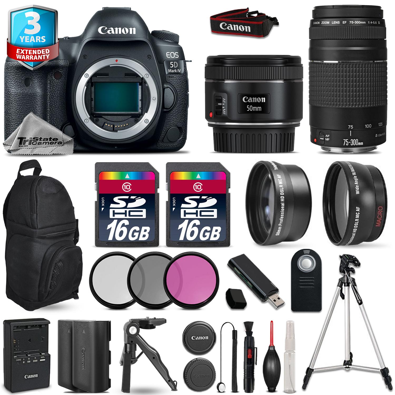 EOS 5D Mark IV Camera + 50mm + 75-300mm + EXT BATT + 32GB + 2yr Warranty *FREE SHIPPING*
