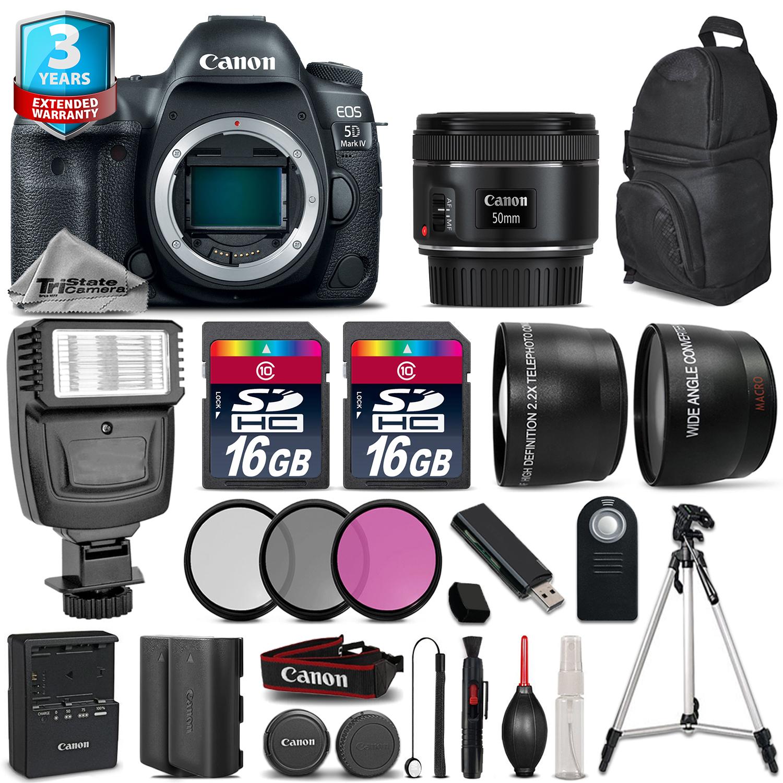 EOS 5D Mark IV Camera + 50mm 1.8 + Flash + 32GB + EXT BATT + 2yr Warranty *FREE SHIPPING*