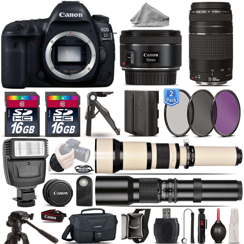 EOS  5D Mark IV Camera + 50mm 1.8 + 75-300mm III + EXT BATT + 2yr Warranty *FREE SHIPPING*