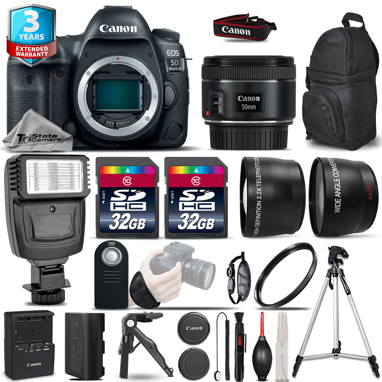 EOS 5D Mark IV Camera + 50mm - 3 Lens Kit + Flash + 64GB + 2yr Warranty *FREE SHIPPING*