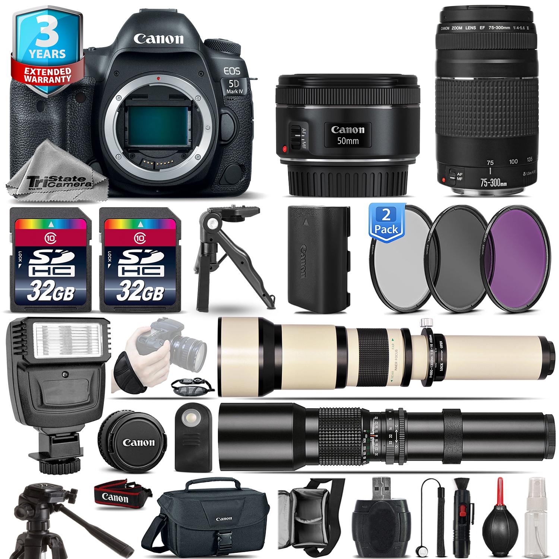 EOS 5D Mark IV Camera + 50mm STM + 75-300mm III+ 2yr Warranty - 64GB Kit *FREE SHIPPING*