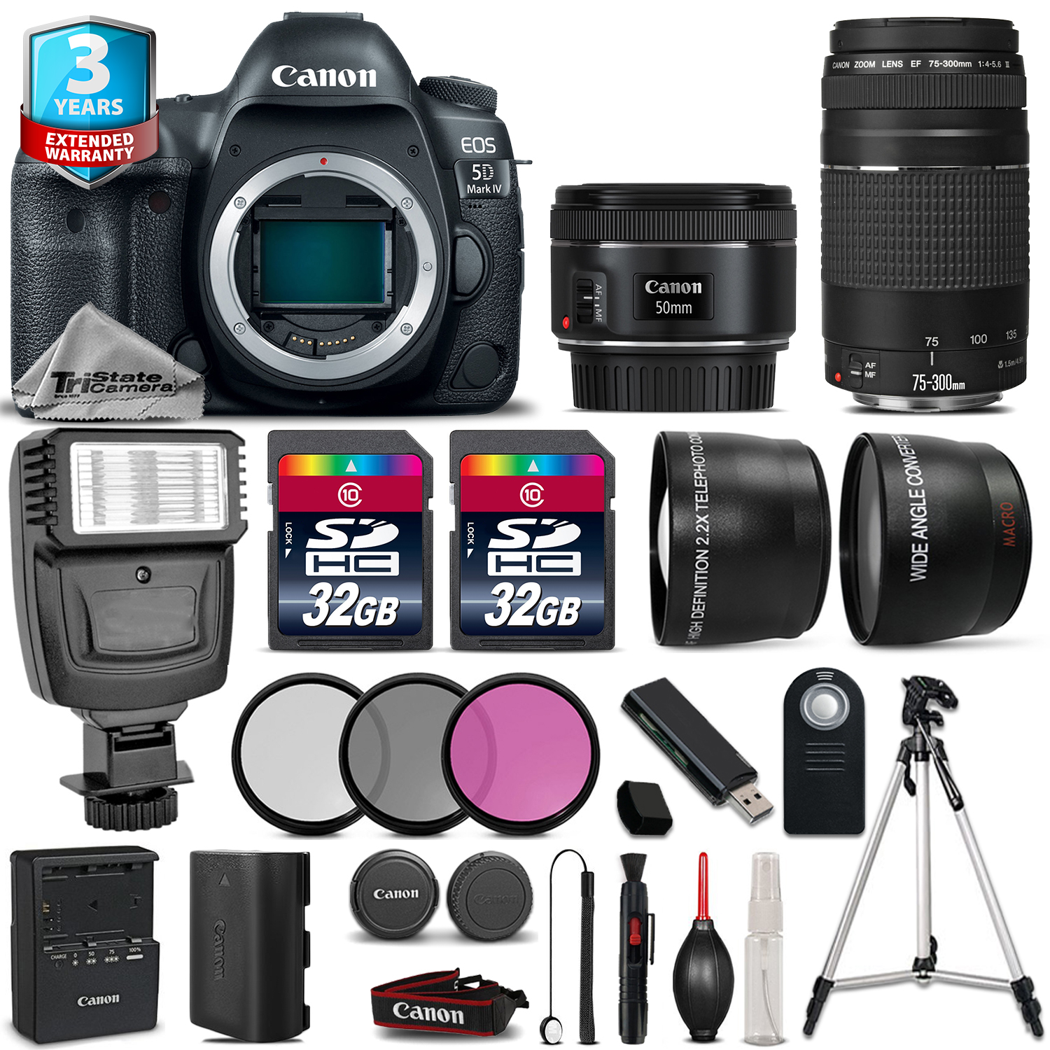 EOS 5D Mark IV Camera + 50mm STM + 75-300mm + 64GB + Flash + 2yr Warranty *FREE SHIPPING*