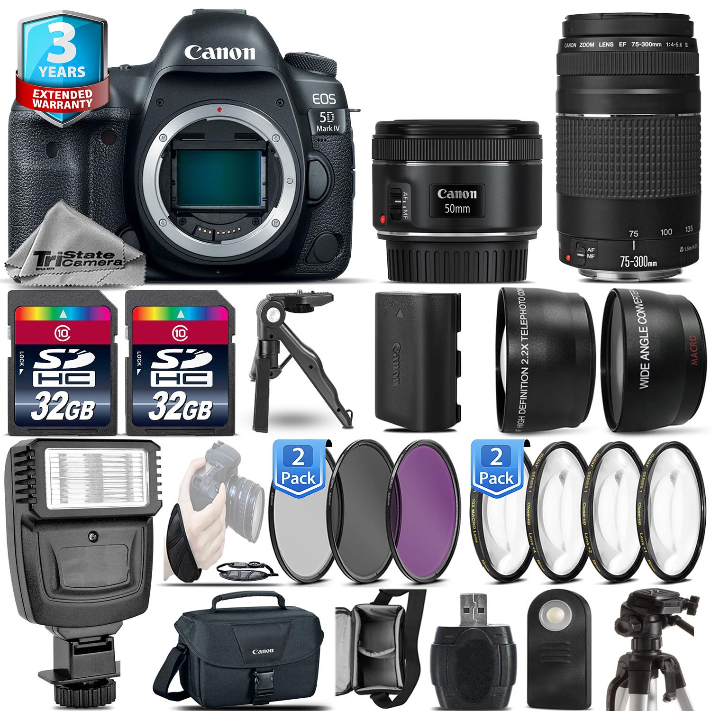 EOS 5D Mark IV Camera + 50mm 1.8 STM + 75-300 III + 2yr Warranty -64GB Kit *FREE SHIPPING*