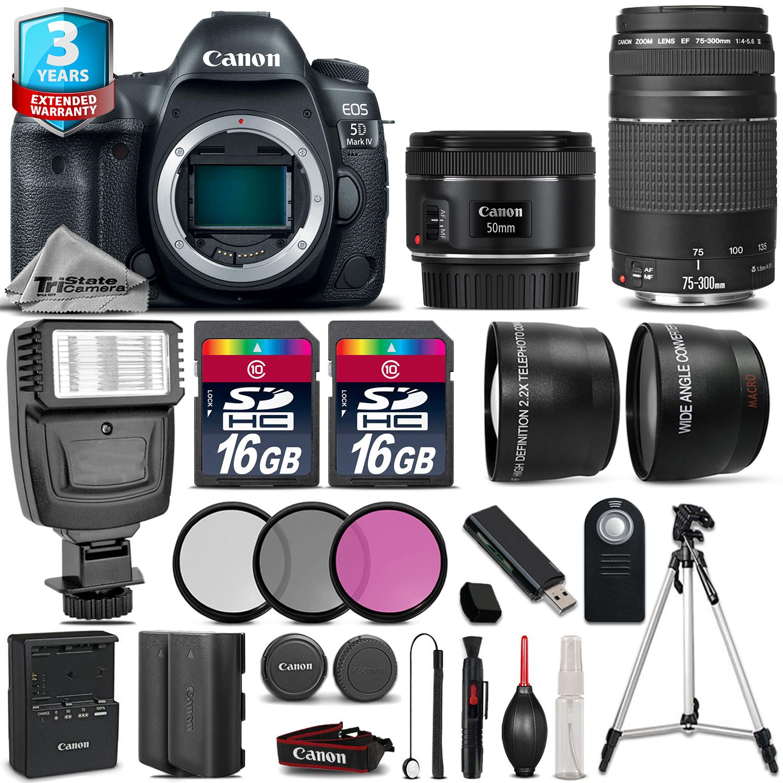 EOS 5D Mark IV Camera + 50mm + 75-300mm + Flash + EXT BAT + 2yr Warranty *FREE SHIPPING*
