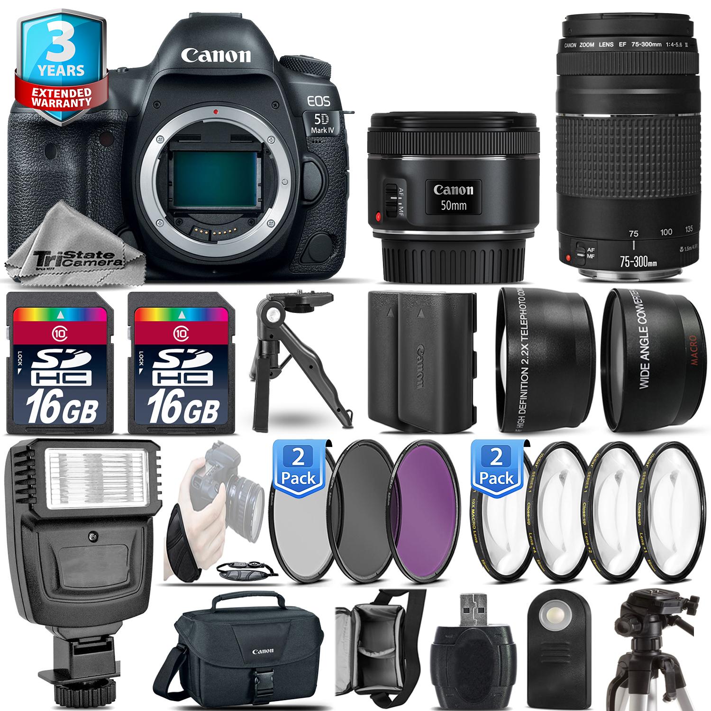 EOS 5D Mark IV Camera + 50mm + 75-300 + EXT BATT - 32GB Kit + 2yr Warranty *FREE SHIPPING*