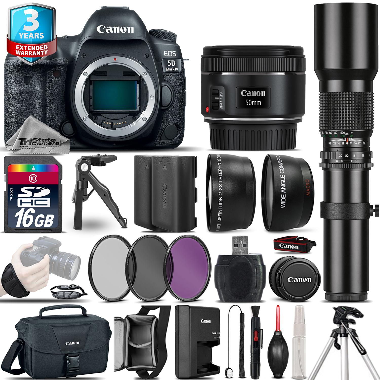 EOS 5D Mark IV Camera + 50mm 1.8 + 500mm + EXT BAT +2yr Warranty -16GB Kit *FREE SHIPPING*