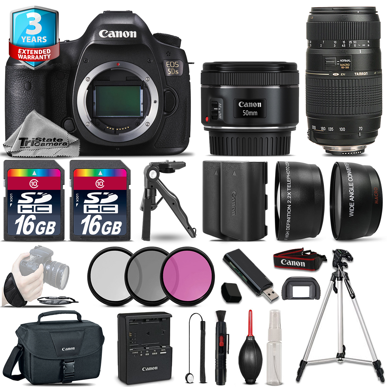 EOS 5DS Camera + 50mm 1.8 & 70-300mm + Extra Battery + 2yr Warranty - 32GB *FREE SHIPPING*