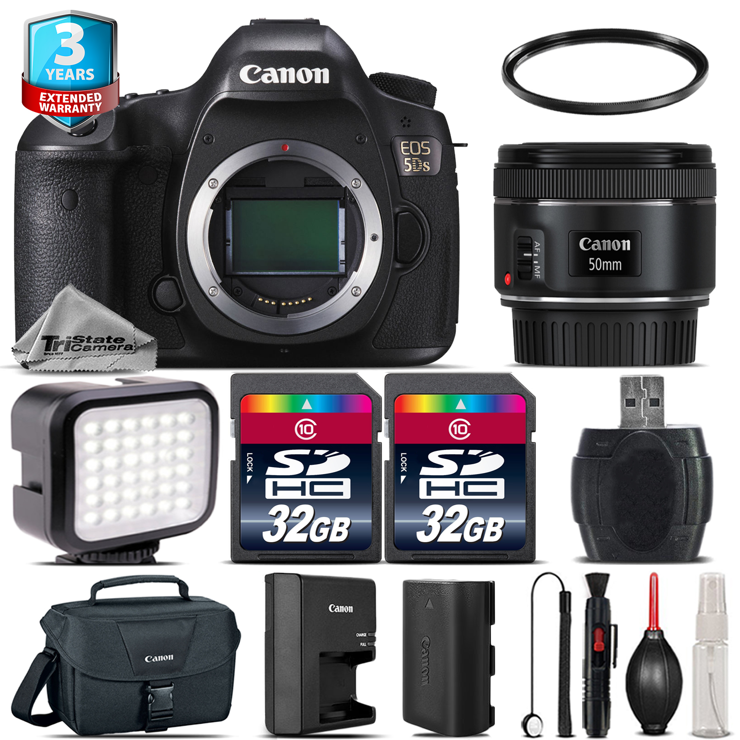 EOS 5DS DSLR Camera + 50mm 1.8 STM + LED Light + Case + 64GB +2yr Warranty *FREE SHIPPING*