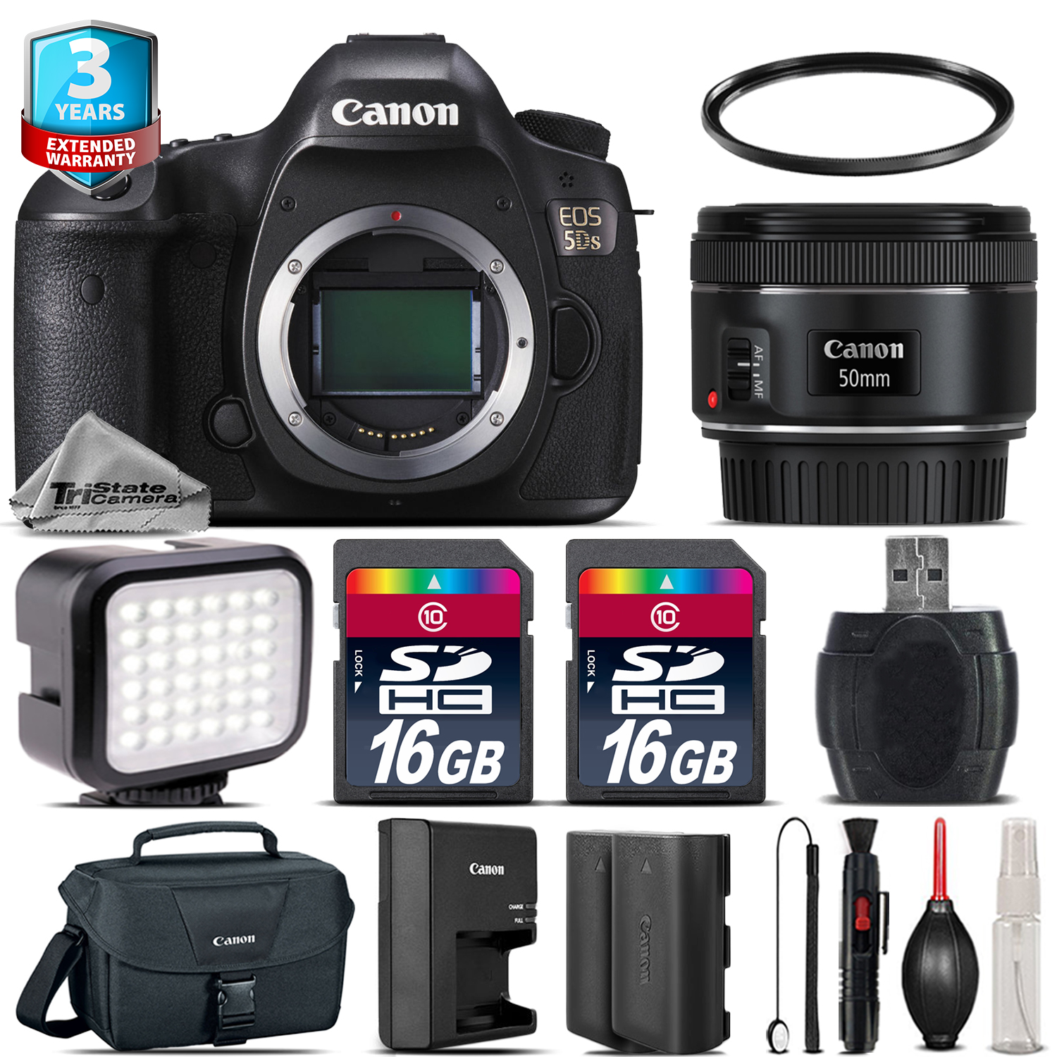 EOS 5DS DSLR Camera + 50mm + LED + CASE + EXT BAT +2yr Warranty - 32GB Kit *FREE SHIPPING*