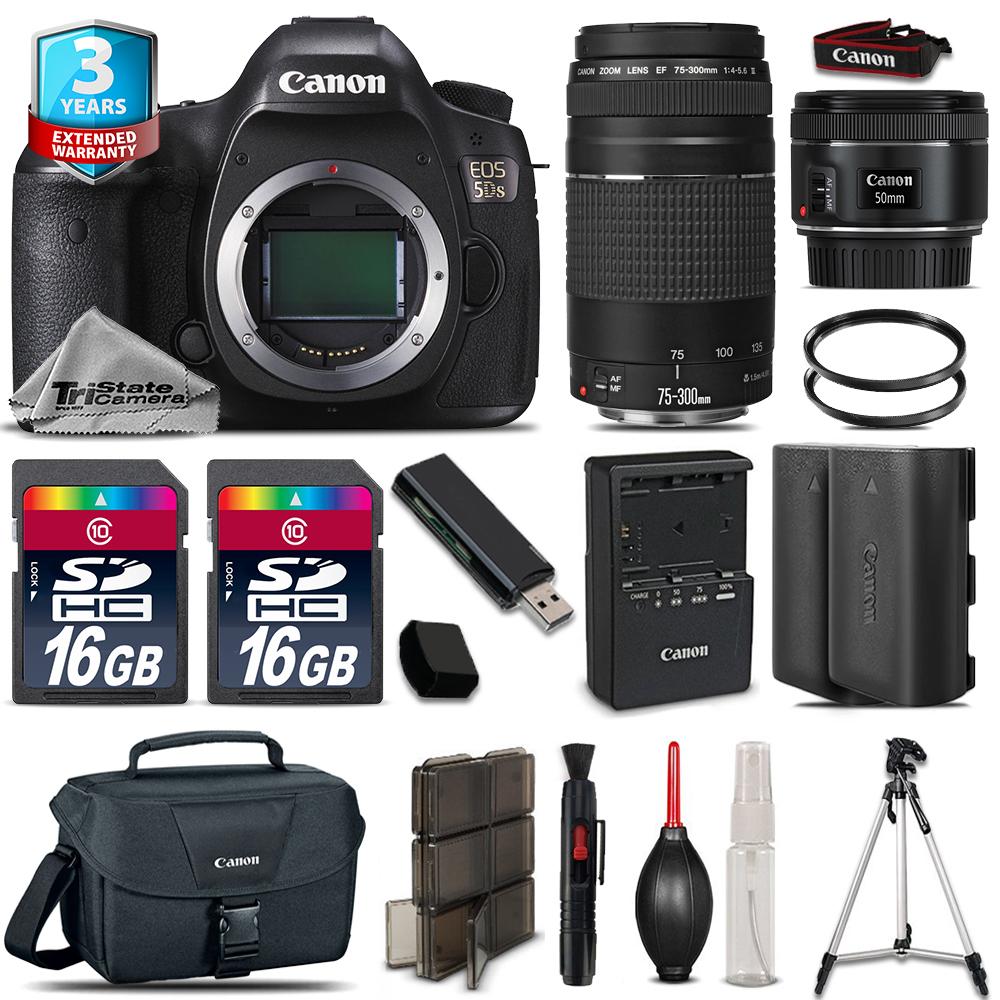 EOS 5DS DSLR Camera + 50mm STM + 75-300mm + EXT BAT + 32GB + 2yr Warranty *FREE SHIPPING*