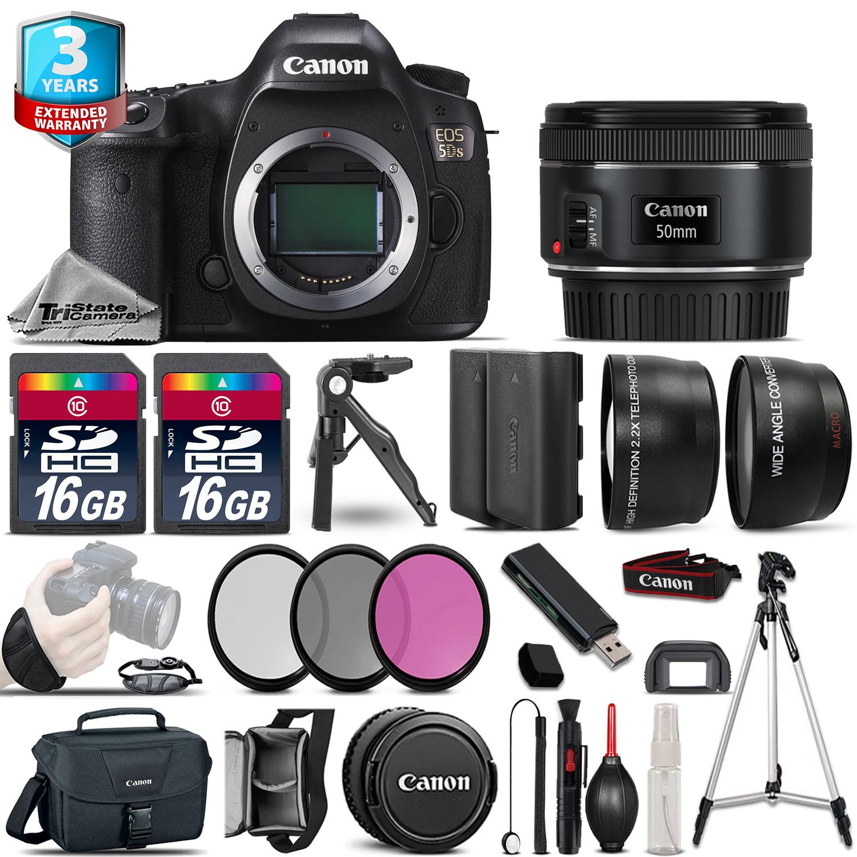 EOS 5DS DSLR Camera + 50mm 1.8- 3 Lens Kit + 32GB + EXT BAT + 2yr Warranty *FREE SHIPPING*