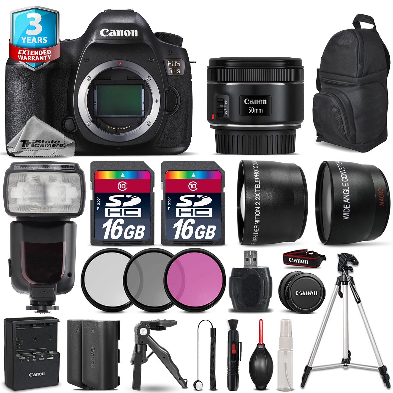 EOS 5DS DSLR Camera + 50mm 1.8 + Extra Battery + 2yr Warranty - 32GB Kit *FREE SHIPPING*