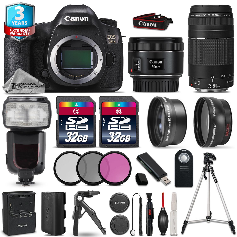 EOS 5DS DSLR Camera + 50mm 1.8 + 75-300mm + 64GB + Flash + 2yr Warranty *FREE SHIPPING*