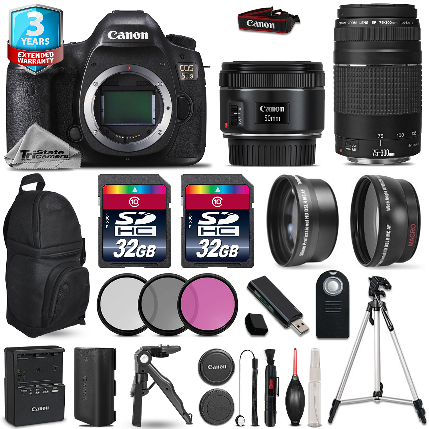 EOS 5DS DSLR Camera + 50mm 1.8 + 75-300mm III + 3PC Filter + 2yr Warranty *FREE SHIPPING*