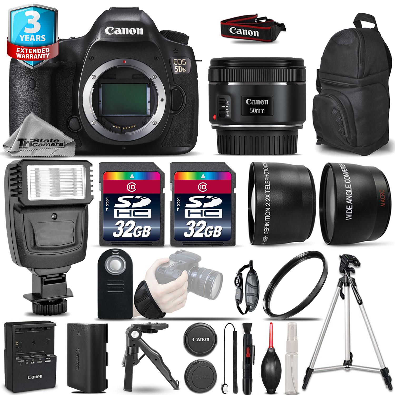 EOS 5DS DSLR Camera + 50mm - 3 Lens Kit + Flash + 2yr Warranty - 64GB Kit *FREE SHIPPING*
