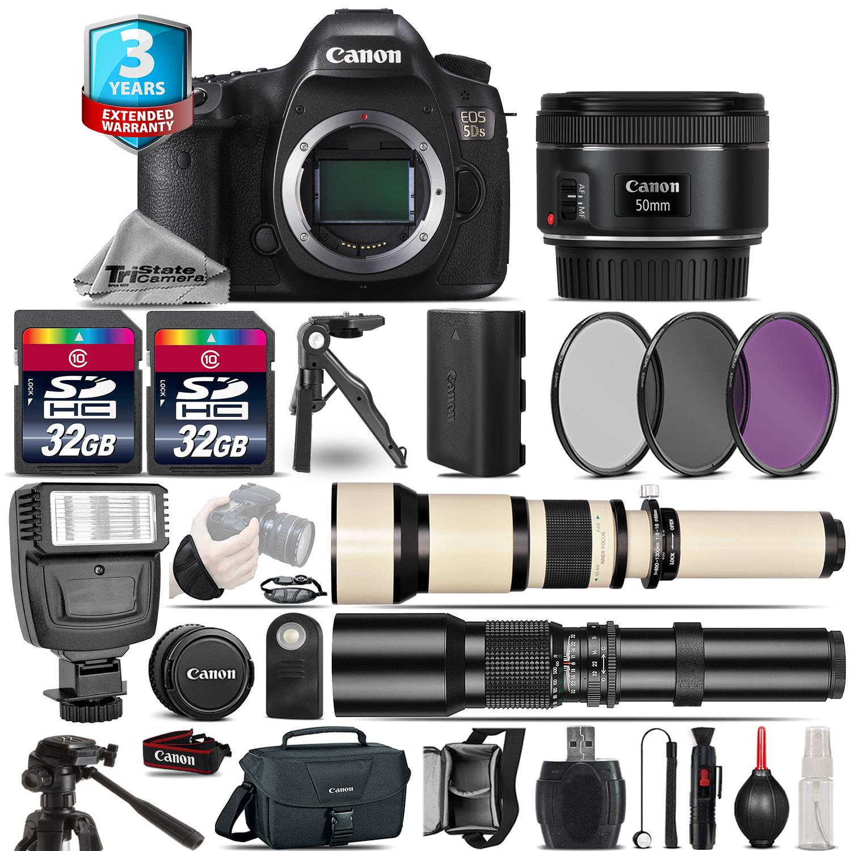 EOS 5DS DSLR Camera + 50mm + 650-1300mm + 500mm + 2yr Warranty - 64GB Kit *FREE SHIPPING*