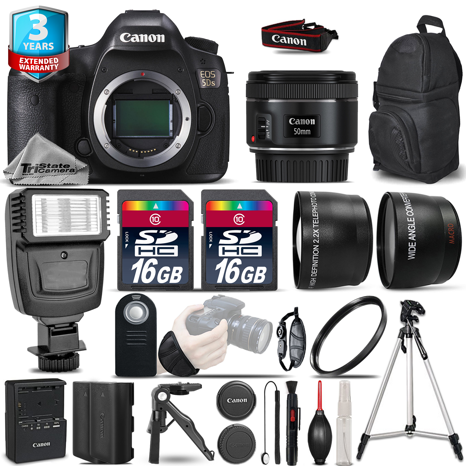 EOS 5DS Camera + 50mm - 3 Lens Kit + Flash + Extra Battery + 2yr Warranty *FREE SHIPPING*