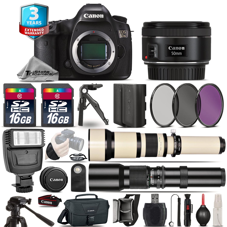 EOS 5DS DSLR Camera + 50mm + 650-1300mm +500mm + EXT BATT + 2yr Warranty *FREE SHIPPING*