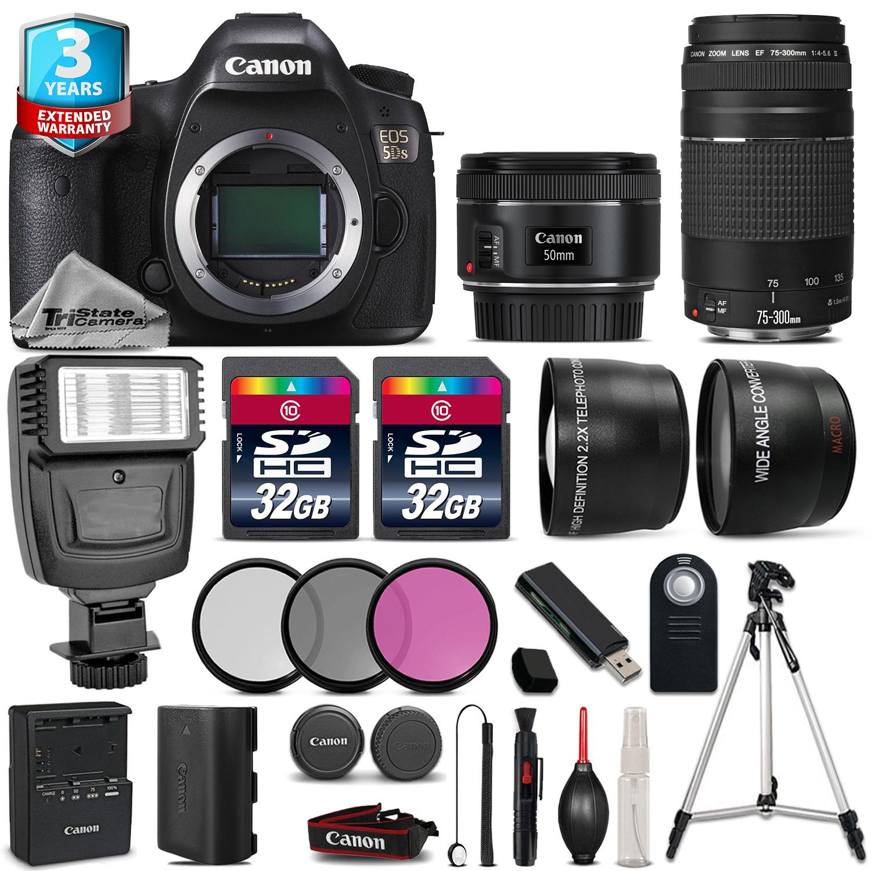 EOS  5DS DSLR Camera + 50mm STM + 75-300mm + 64GB + Flash + 2yr Warranty *FREE SHIPPING*