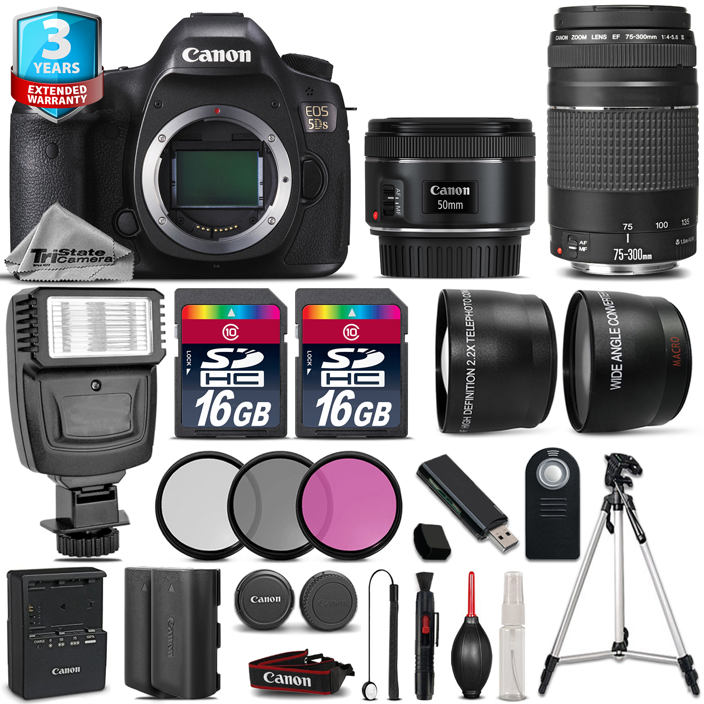 EOS  5DS Camera + 50mm + 75-300mm + 32GB + Flash + EXT BAT + 2yr Warranty *FREE SHIPPING*