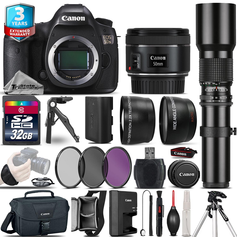 EOS 5DS DSLR Camera + 50mm + 500mm 4 Lens Kit - 32GB Kit  + 2yr Warranty *FREE SHIPPING*
