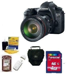 EOS 6D SLR Camera w/EF 24-105mm Zoom Lens - Black  • 4GB Memory Card• Camera/Lens Cleaning Kit• LCD Screen Protectors• Memory Card Reader• Deluxe SLR Carrying Case *FREE SHIPPING*