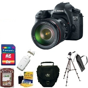 EOS 6D SLR Camera w/EF 24-105mm Zoom Lens - Black  • 8GB Memory Card• Camera/Lens Cleaning Kit• LCD Screen Protectors• Memory Card Reader• Deluxe SLR Carrying Case• Bower 3-Way TriPod *FREE SHIPPING*