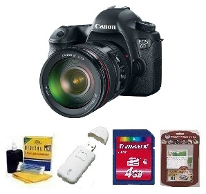 EOS 6D SLR Camera w/EF 24-105mm Zoom Lens - Black • 4GB Memory Card• Camera/Lens Cleaning Kit• LCD Screen Protectors• Memory Card Reader *FREE SHIPPING*