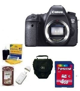 EOS 6D SLR Camera Body Only - Black  • 4GB Memory Card• Camera/Lens Cleaning Kit• LCD Screen Protectors• Memory Card Reader• Deluxe SLR Carrying Case *FREE SHIPPING*