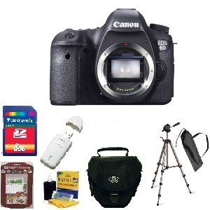 EOS 6D SLR Camera Body Only - Black  • 8GB Memory Card• Camera/Lens Cleaning Kit• LCD Screen Protectors• Memory Card Reader• Deluxe SLR Carrying Case• Bower 3-Way TriPod *FREE SHIPPING*