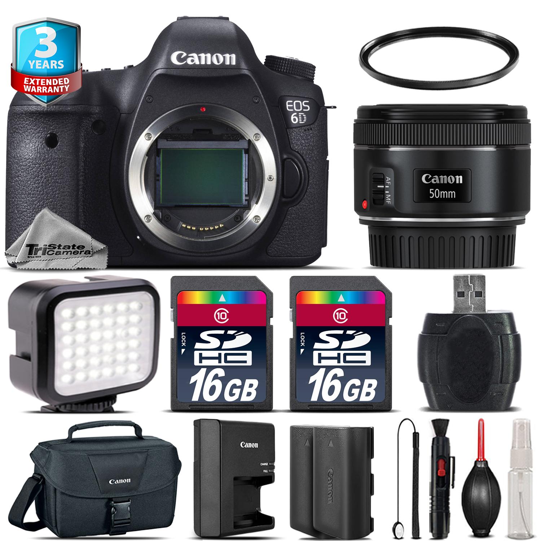 EOS 6D DSLR Camera + 50mm 1.8 + LED + CASE + EXT BAT +32GB +3yr Warranty *FREE SHIPPING*