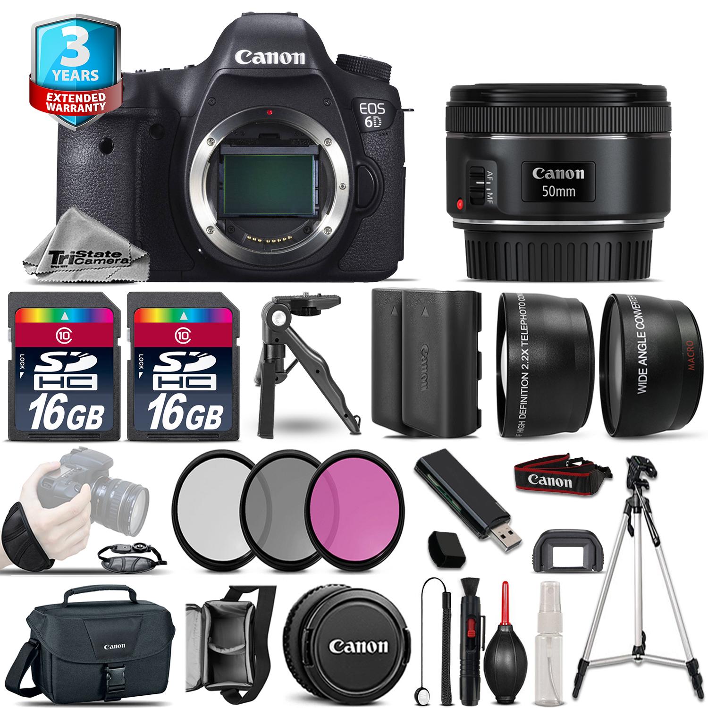 EOS 6D DSLR Camera + 50mm STM -3 Lens Kit + 32GB +EXT BATT +3yr Warranty *FREE SHIPPING*