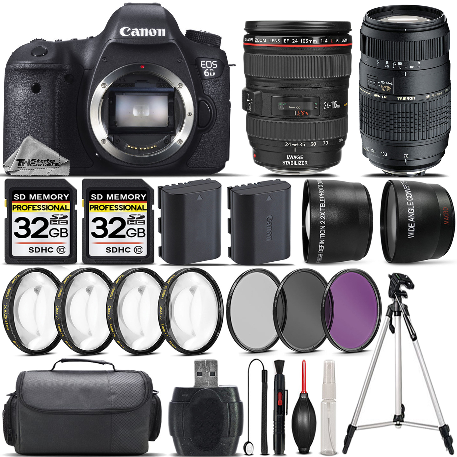 EOS 6D DSLR Camera + Canon 24-105 L Lens + 70-300mm Lens + 4PC Macro Kit *FREE SHIPPING*