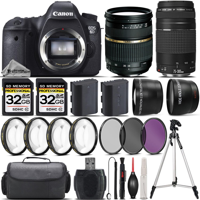 EOS 6D DSLR Camera + 28-75mm XR Di Lens + 75-300mm III Lens +4PC Marco Kit *FREE SHIPPING*
