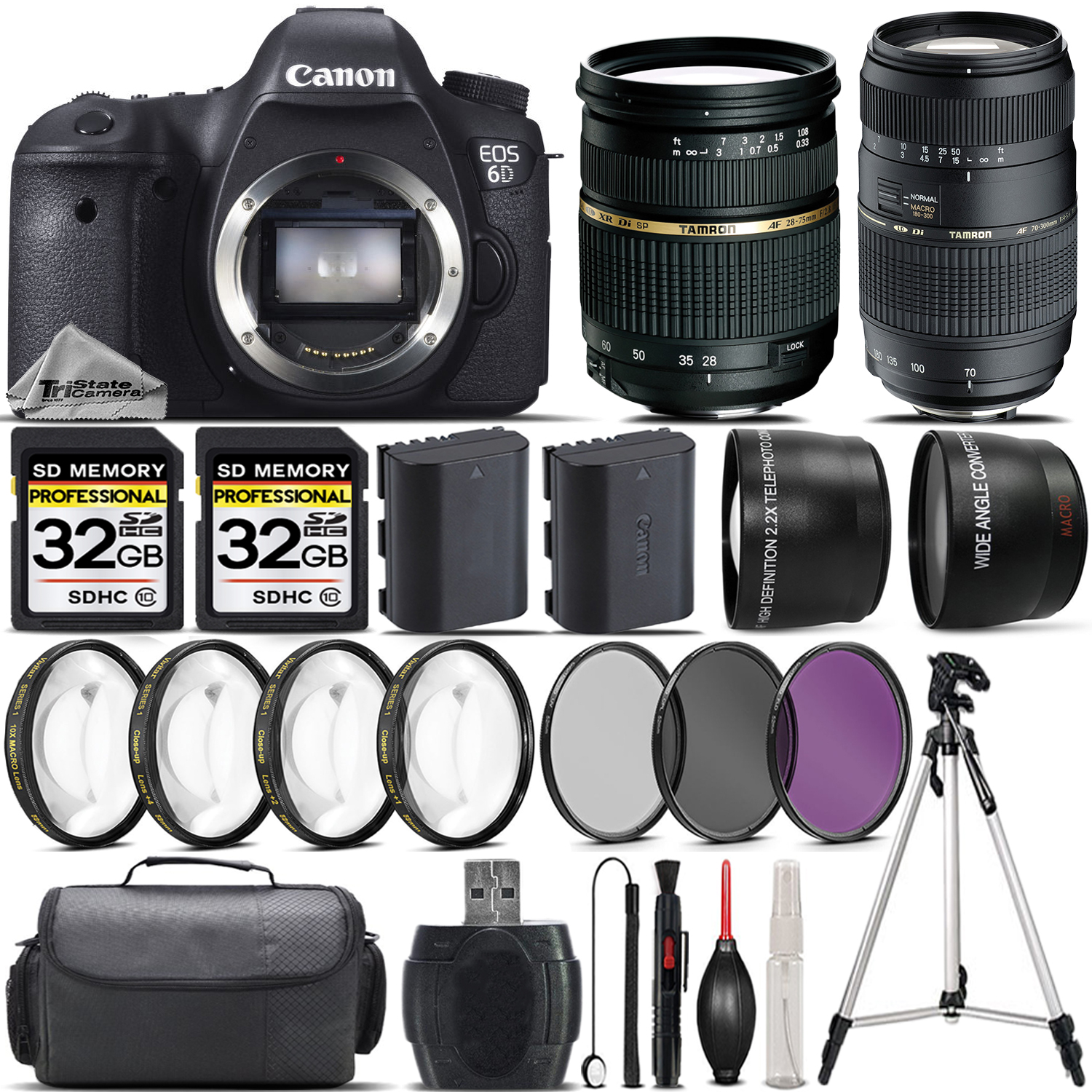 EOS 6D DSLR Camera + 28-75mm XR Di Lens + 70-300mm Lens + 4PC Macro Kit *FREE SHIPPING*