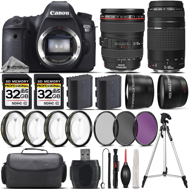 EOS 6D DSLR Camera + Canon 24-105 L Lens + 75-300mm Lens + 4PC Marco Kit *FREE SHIPPING*