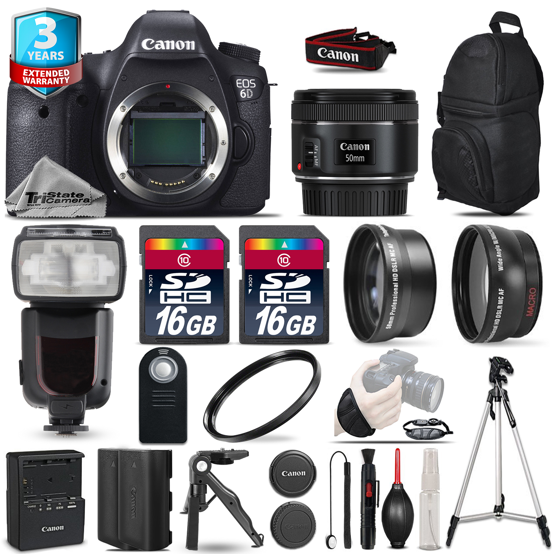 EOS 6D DSLR Camera + 50mm 1.8 STM + Flash+ 32GB + EXT BATT +3yr Warranty *FREE SHIPPING*