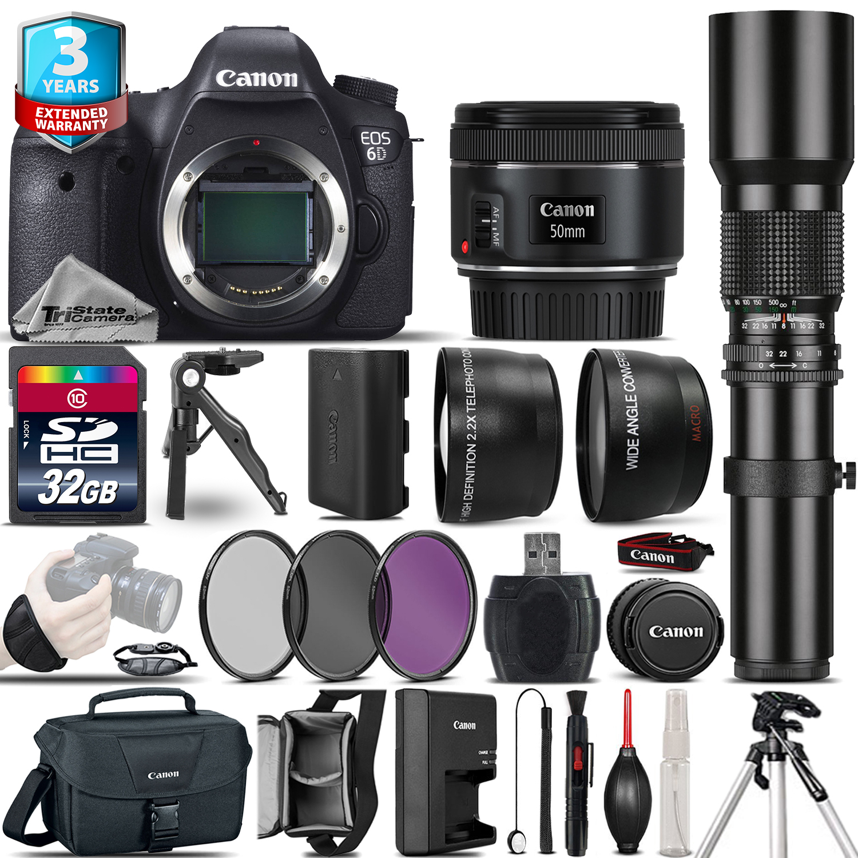 EOS 6D DSLR Camera + 50mm + 500mm 4 Lens Kit - 32GB Kit + 3yr Warranty *FREE SHIPPING*