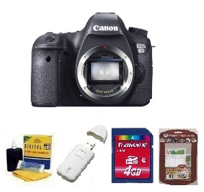 EOS 6D SLR Camera Body Only - Black • 4GB Memory Card• Camera/Lens Cleaning Kit• LCD Screen Protectors• Memory Card Reader *FREE SHIPPING*