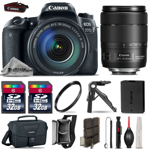 Canon EOS 77D DSLR Camera 1892C002 + 18-135mm USM + Canon Case + 64GB Kit & More *FREE SHIPPING*
