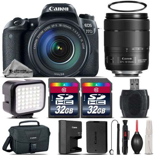 Canon EOS 77D DSLR Camera 1892C002 + 18-135mm USM + LED  + Canon Case - 64GB Kit *FREE SHIPPING*
