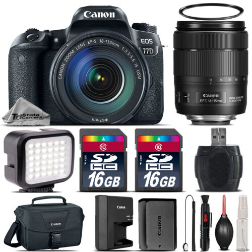 Canon EOS 77D DSLR Camera 1892C002 + 18-135mm USM + LED + Canon Case - 32G Kit *FREE SHIPPING*